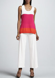 Joan Vass Casual Cotton Wide-Leg Pants, Petite