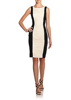 Carmen Marc Valvo Lace-Panel Colorblock Sheath Dress
