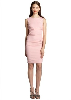 Nicole Miller pink stretch crepe tuck pleat crewneck dress