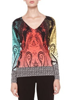 Etro Mixed-Pattern Knit Top