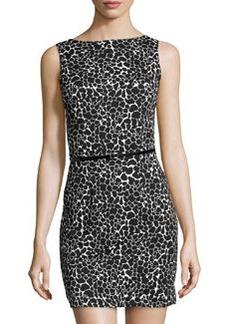 Susana Monaco Spotted Boatneck Jersey Dress, Black