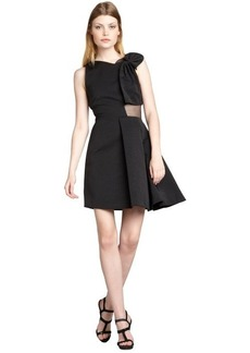 Cynthia Rowley black ribbed cotton blend sheer silk paneled 'Ottoman' dress