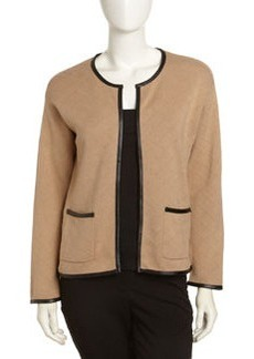 Joan Vass Quilted Faux-Leather Trim Cardigan, Camel