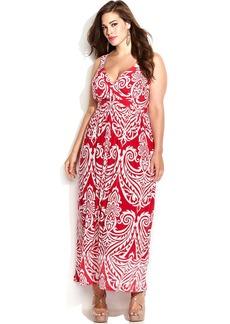 INC International Concepts Plus Size Printed Empire-Waist Maxi Dress