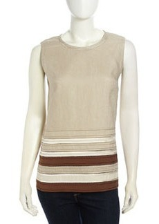 Lafayette 148 New York Deena Sleeveless Striped Summer Linen Blouse, Khaki Multi