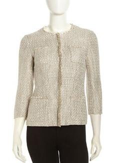 Lafayette 148 New York 3/4-Sleeve Fringe-Trim Tweed Jacket, Mica