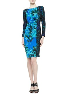 David Meister Long-Sleeve Contrast Print Dress, Turquoise/Black