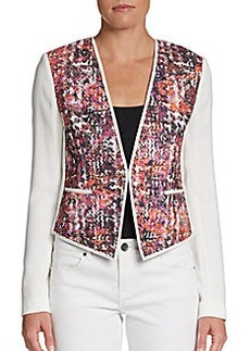 Elie Tahari Monique Knit-Paneled Jacket