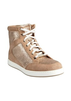 Jimmy Choo taupe and rose gold suede shimmer paneled high-top sneakers