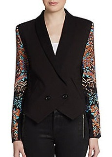 Twelfth Street by Cynthia Vincent Printed-Sleeve Tuxedo Jacket