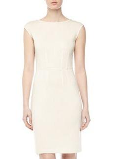 St. John Santana Knit Cap-Sleeve Dress, Linen