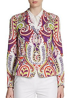 Lafayette 148 New York Paisley-Print Stretch Cotton Blazer