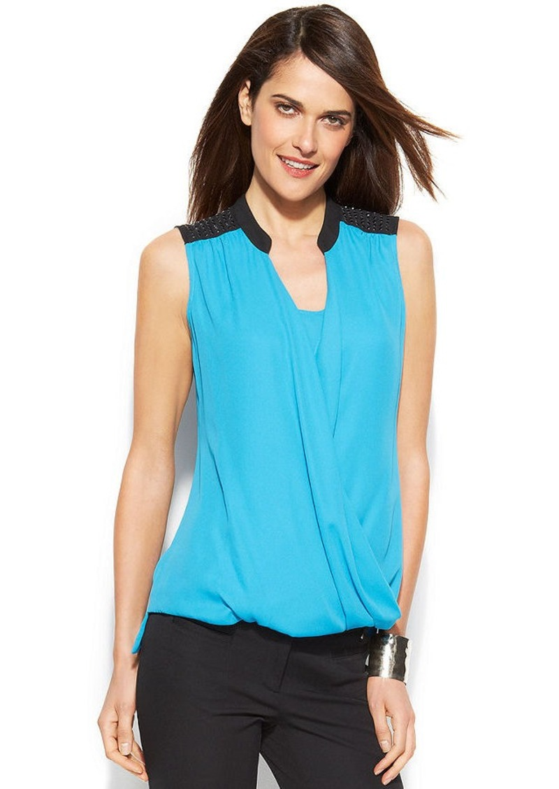 Alfani Embellished Colorblock Draped Top