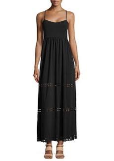 Susana Monaco Diamond Cutout Crepe Maxi Dress, Black