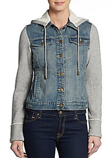 Saks Fifth Avenue GRAY Hooded Denim Jacket