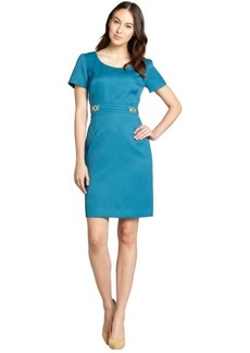 Tahari ASL teal textured woven short sleeve dress