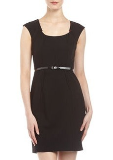 Marc New York by Andrew Marc Invert-Pleat Belted Sheath Dress, Black