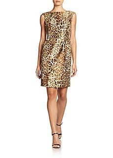 Carmen Marc Valvo Leopard-Print Jacquard Dress