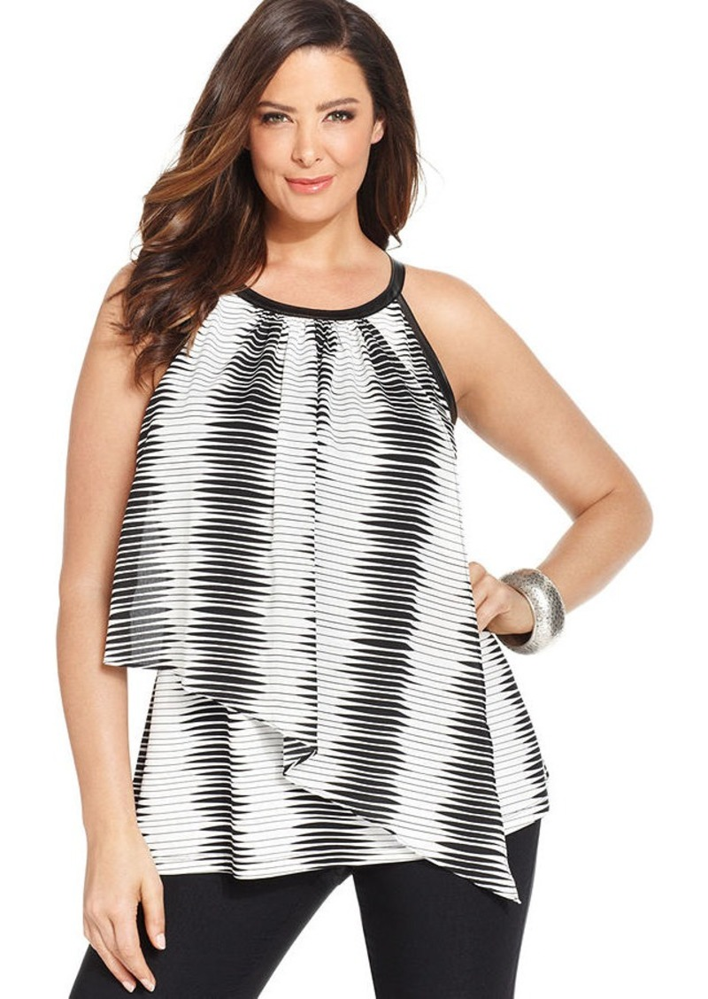 Alfani Plus Size Faux-Leather-Trim Printed Halter Top