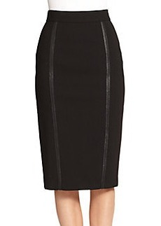 Burberry London Leather-Trimmed Pencil Skirt