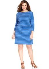 Charter Club Plus Size Three-Quarter-Sleeve Striped Dress