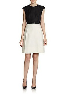 Akris Punto Two-Tone Fitted Dress