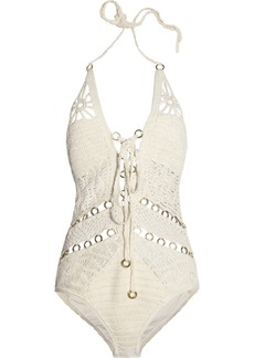 JETS by Jessika Allen White Label Entice crocheted cotton swimsuit