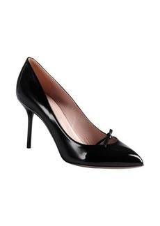 Gucci black patent leather bow detail pointed toe pumps