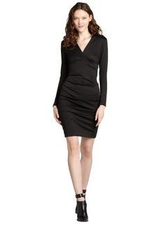 Nicole Miller black ponte v-neck stretch ruched long sleeve dress