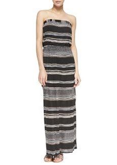 Splendid Safari Striped Strapless Maxi Dress, Black