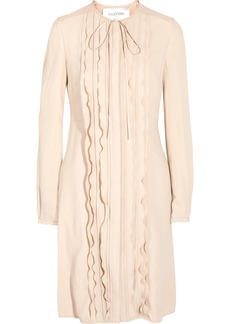 Valentino Faux leather-trimmed crepe dress