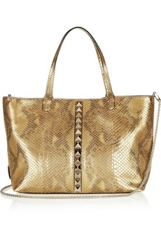 Valentino Studded metallic snake-effect shopper