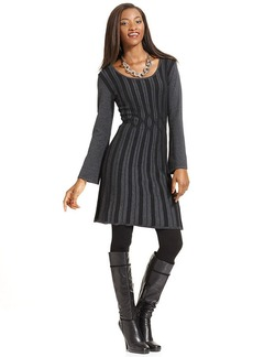 Style&co. Petite Long-Sleeve Ribbed-Knit Sweaterdress