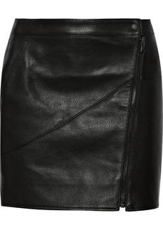 Tibi Paneled textured-leather mini skirt
