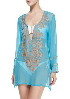 Ella Moss Swim Belle Floral Beaded Sheer Tunic Coverup