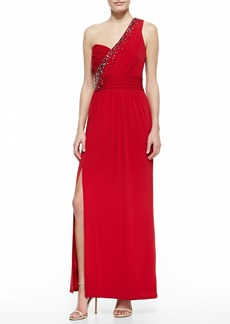 Laundry by Shelli Segal One-Shoulder Embellished Gown, Rose Red