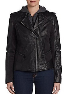 MARC NEW YORK by ANDREW MARC Belle Hooded Leather & Knit Zip Insert Jacket
