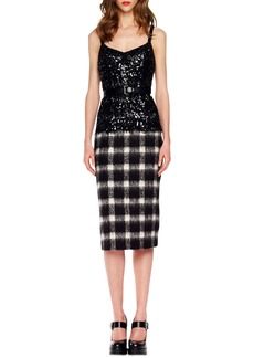 Michael Kors Sequined Plaid Combo Dress
