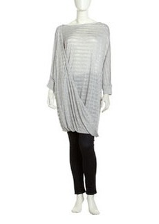 L.A.M.B. Wrap-Front Long Tunic, Heather Gray