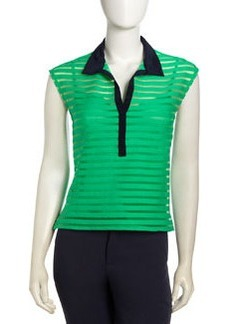 Nanette Lepore Sheer Stripe Contrast Collar Top, Green Gum Ball