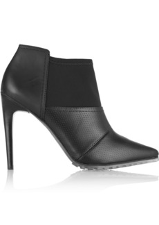 Tibi Kirby perforated rubberized-leather and scuba-jersey ankle boots