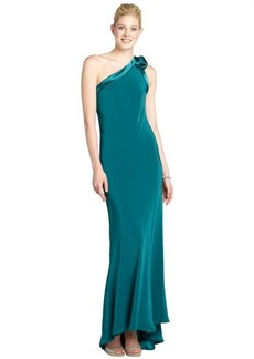 A.B.S. by Allen Schwartz emerald one shoulder rose open back gown