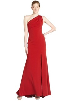Badgley Mischka scarlet stretch one shoulder beaded detail gown