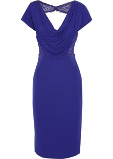 Badgley Mischka Beaded mesh-paneled jersey-crepe dress
