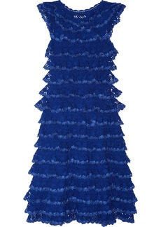 Oscar de la Renta Ruffled crochet-knit cotton dress