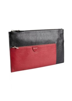 Marc Jacobs black and raspberry leather zip portfolio