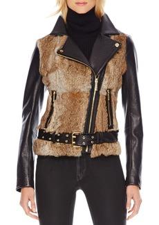 MICHAEL Michael Kors Fur-Front Motorcycle Jacket