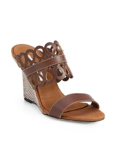 Manolo Blahnik Gasina Double-Strap Leather Wedge Sandals
