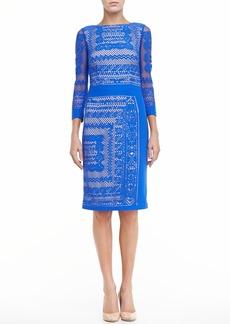 David Meister 3/4-Sleeve Lace Dress