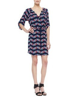Shoshanna Drawstring Printed Jersey Dress